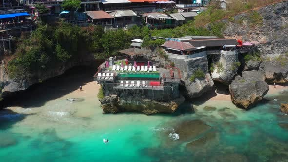 Blue Point or Suluban Beach the Surfing Paradise, a Deck on a Cliff Overlooking the Sea in South