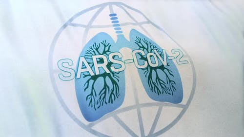 White Flag With Globe Icon Merging With Human Lung And SARS-CoV-2 Text