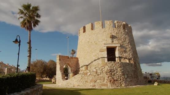 Watchtower on the Spanish Mediterranean Coastline, Torrevieja Torre Del Moro. Timelapse.
