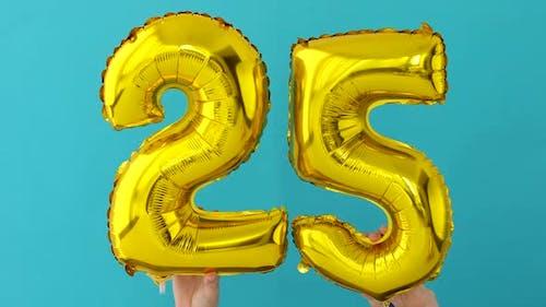 Gold Foil Number 25 Twenty Five Celebration Balloon