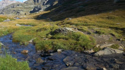 Alpine landscape, high mountain stream in uncontaminated environment amid rocks and meadows