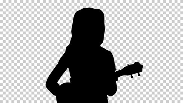 Thumbnail for Silhouette Little girl playing small guitar, Alpha Channel