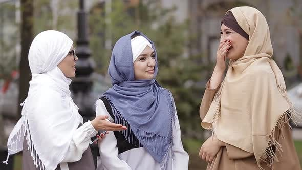 Thumbnail for Three Young Muslim Girls Talk on The Street