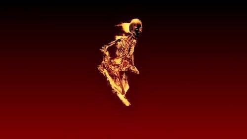 Burning 3D Skeleton Run  Looped on Red