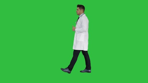Thumbnail for Walking Male Doctor Passing by On a Green Screen, Chroma Key