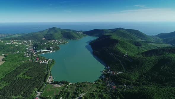 Lake Abrau in Caucasian Mountains and Black Sea