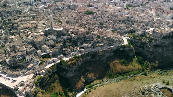 Thumbnail for Aerial View of Flying Over Church of Ancient City of Matera, Italy, Apulia