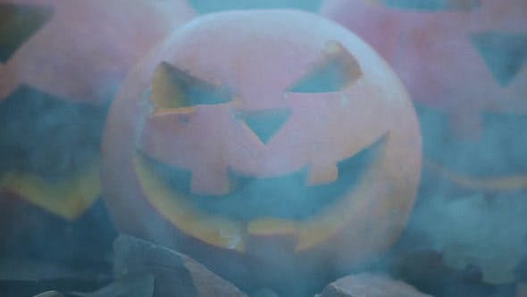 Thumbnail for Three Halloween Spooky Pumpkins with Scary Faces with Smoke