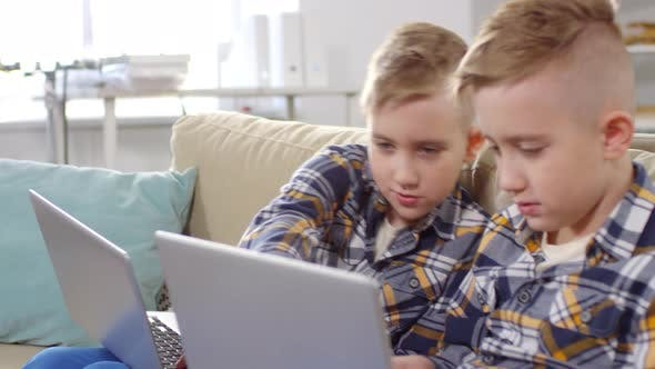 Cover Image for Caucasian Twins Doing Homework on Laptops