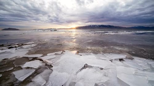Sunset Time Lapse Over Frozen Lake