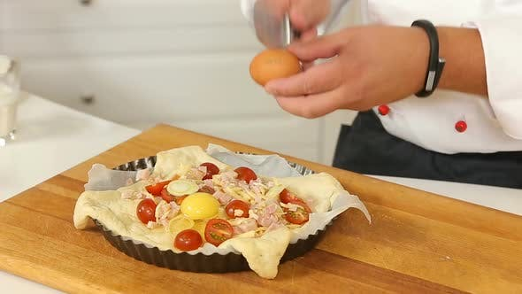 Thumbnail for Raw Homemade Pie with Eggs, Vegetables and Ham Ready for Baking
