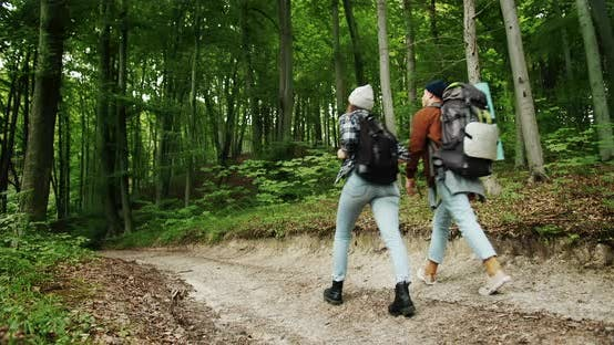 Thumbnail for Couple of Backpacker Tourists Walking in Forest