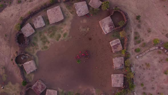 Aerial shot of a Maasai settlement