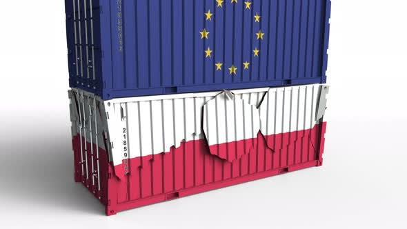 Thumbnail for Container with Flag of the EU Breaks Container with Flag of Poland