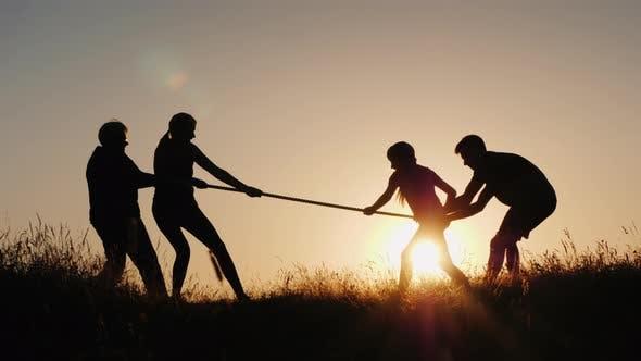 Family Having Fun in Nature - Playing Tug of War