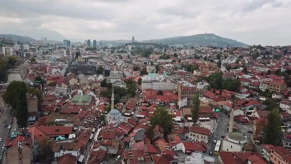 Aerial View Of Sarajevo Old Town