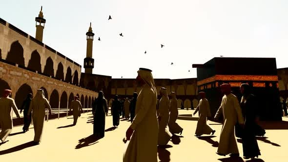 Muslims and Birds Accompanying the Kaaba in Sunny and Hot Weather