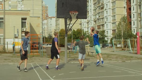 Thumbnail for Streetball Player Scoring Field Goal with Layup Shot