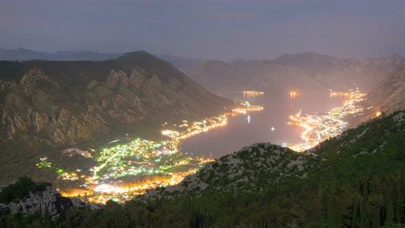 Natural Bay Travel Destination Night View, Fjord of Kotor, Montenegro