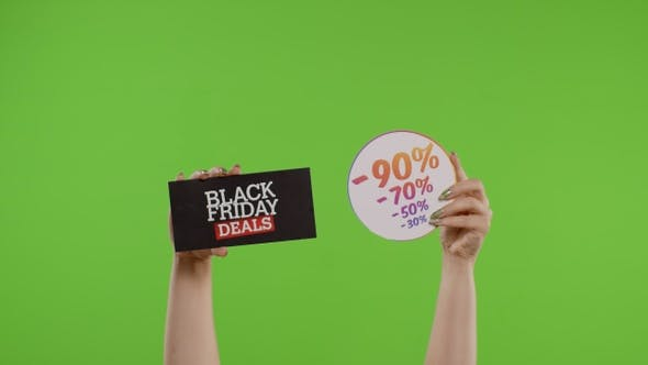 Black Friday Deals and Purchase Discount Percentage Advertisement Inscriptions on Chroma Key