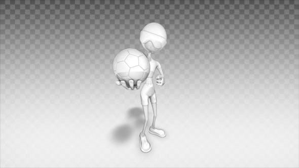Thumbnail for Cartoon 3D Man - Show Footbal