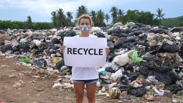 Thumbnail for Female Activist on Waste Dump. Pollution and Environmental Problems.