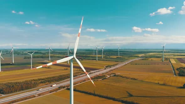 Thumbnail for Aerial View of Wind Turbines Farm in Field, Austria, Drone View on Energy Production
