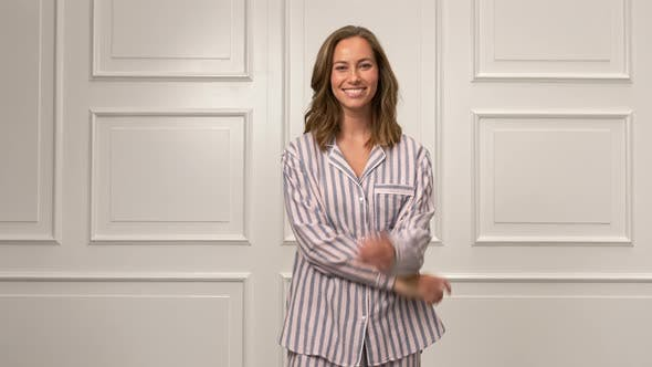 Thumbnail for Attractive Woman in her Striped Pajamas