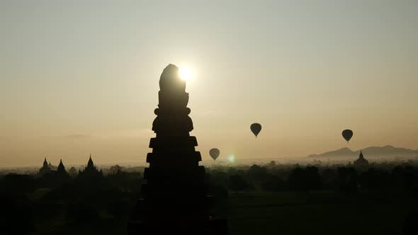 Thumbnail for Balloons flying during sunrise