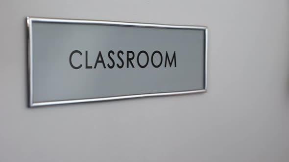 Thumbnail for Classroom School Door, Student Hand Knocking Closeup, Education System, Exam