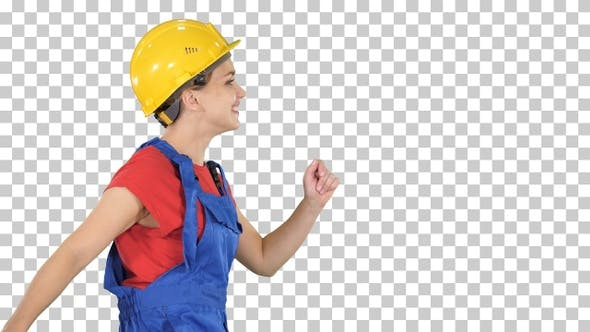 Thumbnail for Female Worker in Hardhat Walking Happy Construction and Architecture