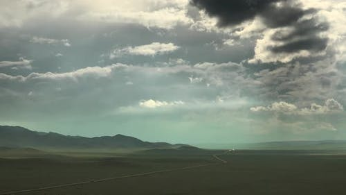 Highway Road and Cars in Mongolia Geography