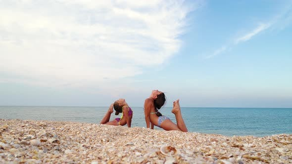 Gymnasts on the Sea Coast