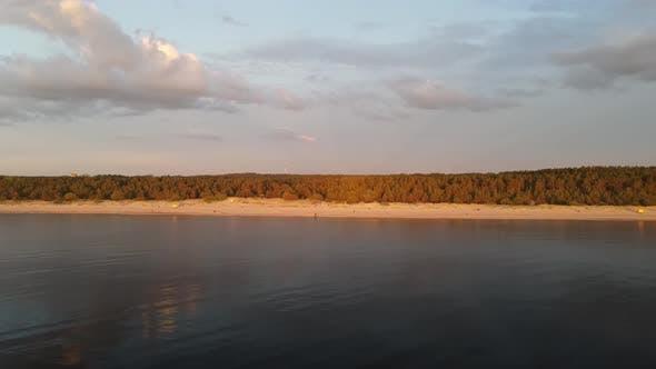 Sunset sea shore