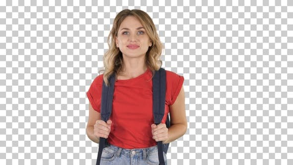 Thumbnail for Young Good-Looking Woman in Casual T-Shirt with Backpack