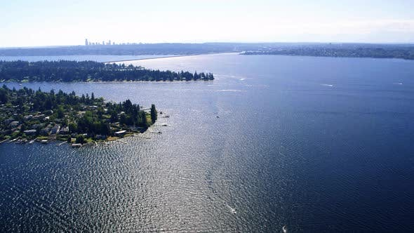 Helicopter View Over Lake Washington
