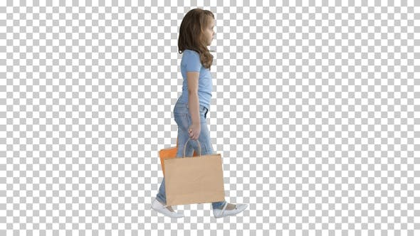 Thumbnail for Cheerful School Girl Walking with Shopping Bags, Alpha Channel