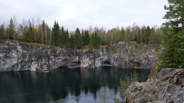 Mountain Park Ruskeala at Autumn Season. Marble Canyon in Sortavala Region of Republic of Karelia
