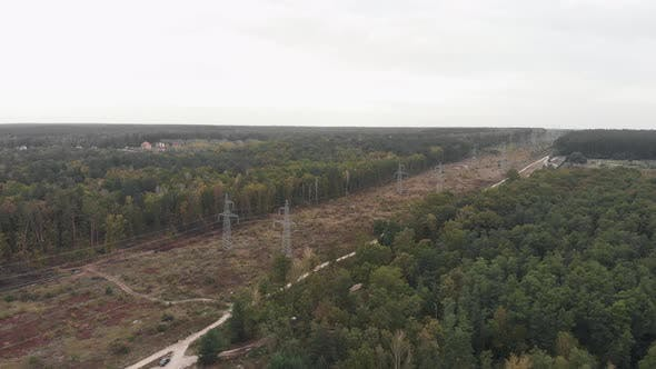 Transmission power lines in forest. Power lines, Green energy sustainability, renewable concept