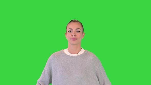 Happy Healthy Sporty Girl Running on a Green Screen Chroma Key