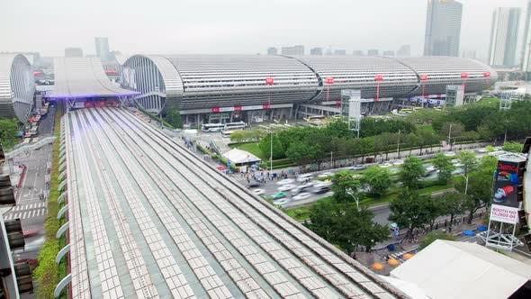 Thumbnail for Import and Export Canton Fair Building Roofs Timelapse