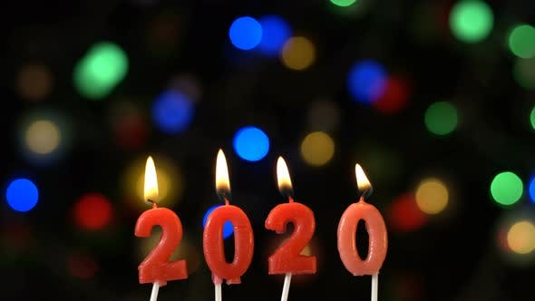 New Year 2020 Candle And Bokeh