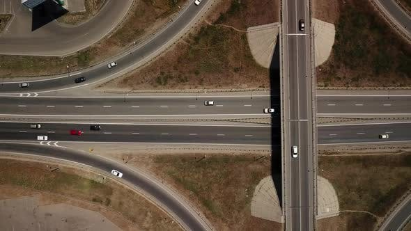 Thumbnail for Aerial View of Transport Junction, Traffic Cross Road Junction Day
