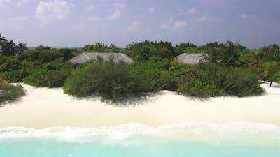 Close Aerial View of Tropical Island