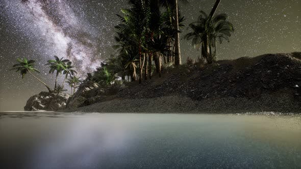 Thumbnail for Beautiful Fantasy Tropical Beach with Milky Way Star in Night Skies