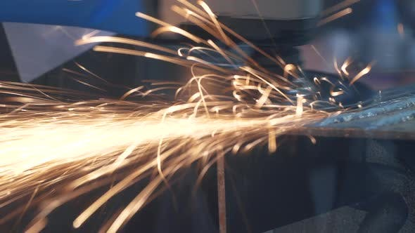 Thumbnail for Works Circular Saw. Sparks Fly From Hot Metal. Hard Worked Over Steel Close-up