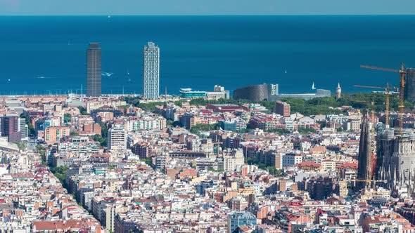 barcelona skyline urban city spain catalonia coast architecture