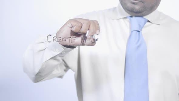 Latino Businessman Writes Create A Job
