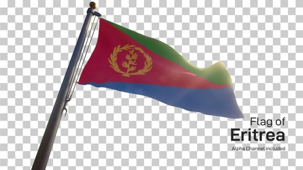 Eritrea Flag on a Flagpole with Alpha-Channel