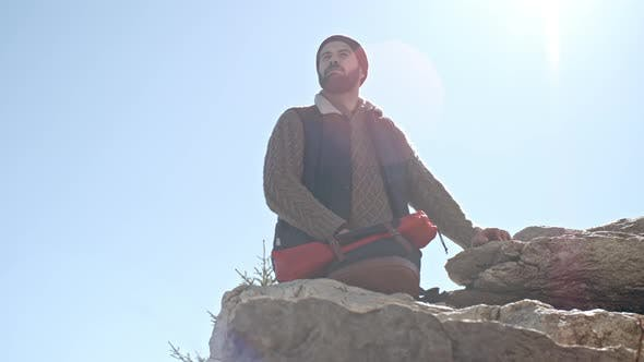 Thumbnail for Low Angle of Hiker Enjoying View